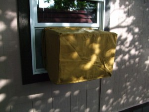 Window air conditioner outside cover installed